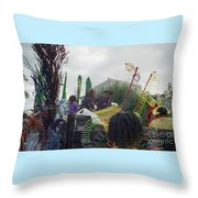 Carnival Girls At Play In Costume  Throw Pillow
