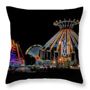 Carnival Rides At Night 04 Throw Pillow
