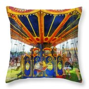 Carnival - Super Swing Ride Throw Pillow