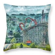 Carnival - The Thrill Ride Throw Pillow by Mike Savad