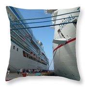 Carnival Triumph In Port Throw Pillow