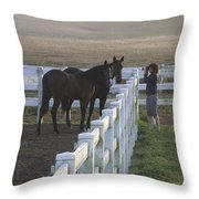 Caro And Her Horses Throw Pillow