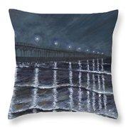 Carolina Beach Pier By Night Throw Pillow