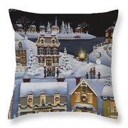 Caroling In Winterberry Throw Pillow