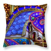 Carousel Beauty Blue Charger Throw Pillow