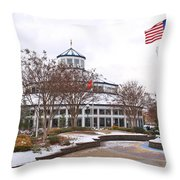 Carousel Building In The Snow Throw Pillow by Tom and Pat Cory