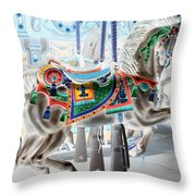 Carousel Horse In Negative Colors Throw Pillow