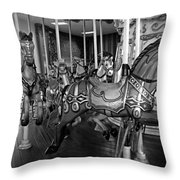 Carousel Horses In Black And White Throw Pillow