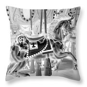 Carousel In Negative 3 Throw Pillow
