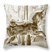 Carousel In Negative Sepia Throw Pillow