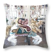 Carousel Merry Go Round Horses - Dreamy Baby Blue Carousel Horses Carnival Ride And American Flag Throw Pillow