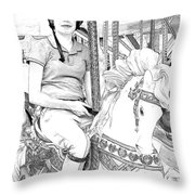 Carousel Rider Throw Pillow