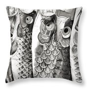 Carp Kites Throw Pillow