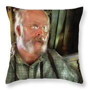 Carpentry - The Carpenter And His Workshop Throw Pillow