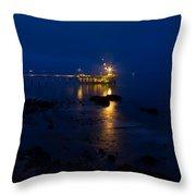 Carpinteria Blue And Gold Throw Pillow