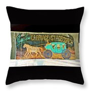 Carriage And Stagecoach Sign Throw Pillow