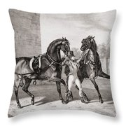 Carriage Horses For The King Throw Pillow