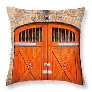 Carriage House Doors Throw Pillow