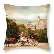 Carriage Ride In Central Park Throw Pillow