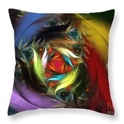Carribean Nights-abstract Fractal Art Throw Pillow by Karin Kuhlmann