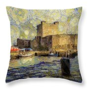 Starry Carrickfergus Castle Throw Pillow