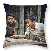 Carrom Boys Throw Pillow