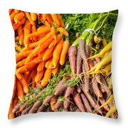 Carrots At The Market Throw Pillow