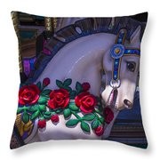 Carrsoul Horse With Roses Throw Pillow