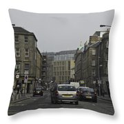 Cars And Buildings On The Streets Of Edinburgh Throw Pillow