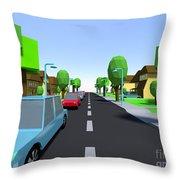 Cars Driving Suburban Streets   Throw Pillow