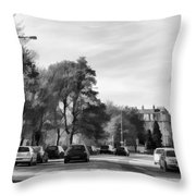 Cars On A Street In Edinburgh Throw Pillow