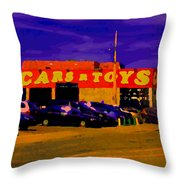 Cars R Toys Evening Rue St.jacques Used Cars Trucks Suvs Montreal Urban Scene Carole Spandau Throw Pillow
