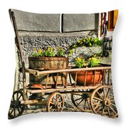Cart And Flowers In Slovenia Throw Pillow