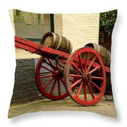 Cart Loaded With Wood Beer Barrels Throw Pillow