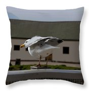 Cartoon - A Bird Perched On A Metal Post Getting Ready To Take Off Throw Pillow