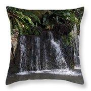 Cartoon - A Waterfall As Part Of An Exhibit Inside The Jurong Bird Park Throw Pillow