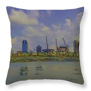 Cartoon - Buildings And Bridge On The Marina Reservoir Throw Pillow