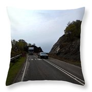 Cartoon - Car And Truck Crossing A Road Repair Section Of Highway In Scotland Throw Pillow