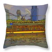 Cartoon - Colorful River Cruise Boat In Singapore Next To A Bridge Throw Pillow