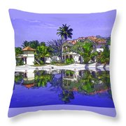 Cartoon - Cottages And Lagoon Water Throw Pillow
