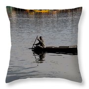 Cartoon - Kashmiri Man Rowing A Small Wooden Boat In The Waters Of The Dal Lake Throw Pillow