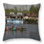 Cartoon - Ladies On 2 Wooden Boats On The Dal Lake With The Background Of Houseboats Throw Pillow