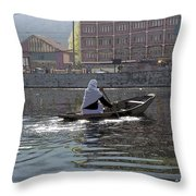 Cartoon - Light Following This Lady On A Wooden Boat On The Dal Lake In Srinagar Throw Pillow