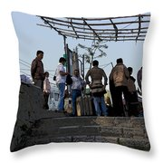 Cartoon - Locals And Tourists Standing At The Top Of The Steps Near The Dal Lake Throw Pillow