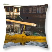 Cartoon - Man Plying Wooden Shikara With Side Lettering Of Kodak Express In The Dal Lake Throw Pillow