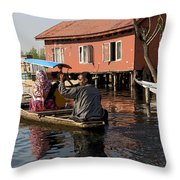 Cartoon - Man Rowing A Family In A Wooden Boat Throw Pillow