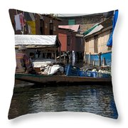 Cartoon - Man Rowing Small Boat Laden With Vegetables In The Dal Lake In Srinagar Throw Pillow