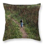 Cartoon - Man Walking Through Tall Grass In The Okhla Bird Sanctuary Throw Pillow