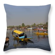 Cartoon - Multiple Number Of Shikaras On The Water Of The Dal Lake In Srinagar Throw Pillow