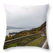 Cartoon - Road Along The Loch Alsh In The Scottish Highlands Throw Pillow